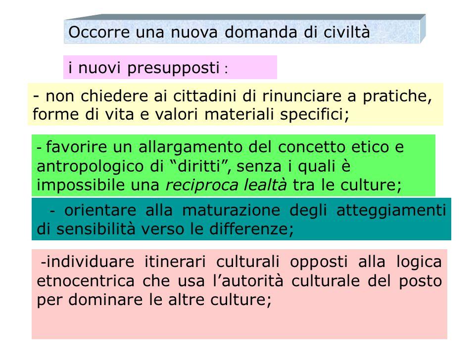 Occorre una nuova domanda di civiltà i nuovi presupposti : - non chiedere ai cittadini di rinunciare a pratiche, forme di vita e valori materiali spec