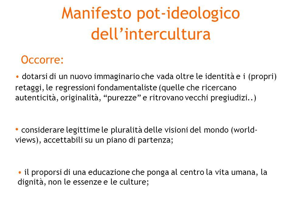 Manifesto pot-ideologico dellintercultura Occorre: dotarsi di un nuovo immaginario che vada oltre le identità e i (propri) retaggi, le regressioni fon