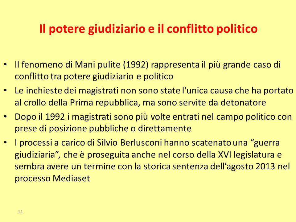 Il potere giudiziario e il conflitto politico Il fenomeno di Mani pulite (1992) rappresenta il più grande caso di conflitto tra potere giudiziario e p