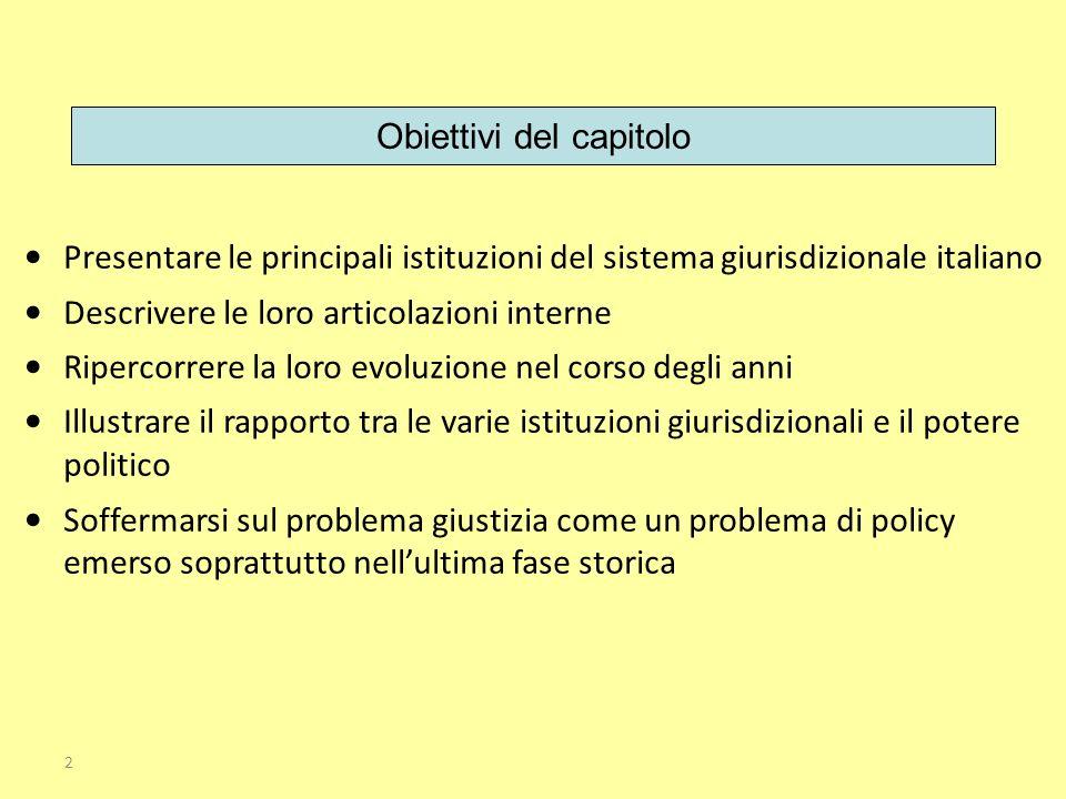 Presentare le principali istituzioni del sistema giurisdizionale italiano Descrivere le loro articolazioni interne Ripercorrere la loro evoluzione nel