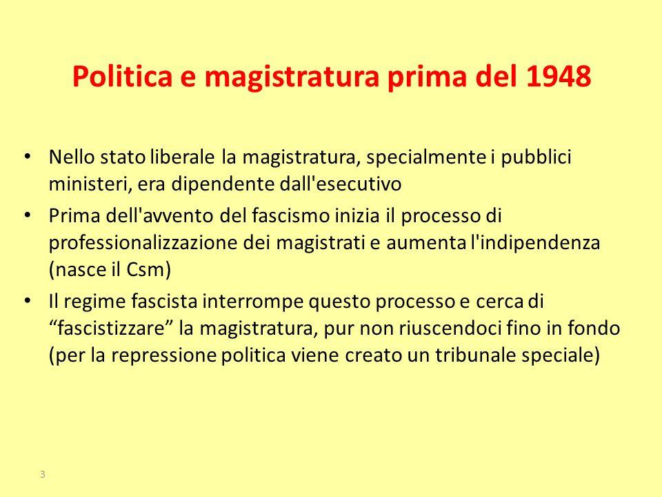 Politica e magistratura prima del 1948 Nello stato liberale la magistratura, specialmente i pubblici ministeri, era dipendente dall'esecutivo Prima de