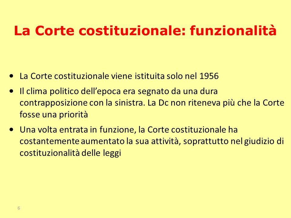 La Corte costituzionale viene istituita solo nel 1956 Il clima politico dellepoca era segnato da una dura contrapposizione con la sinistra. La Dc non