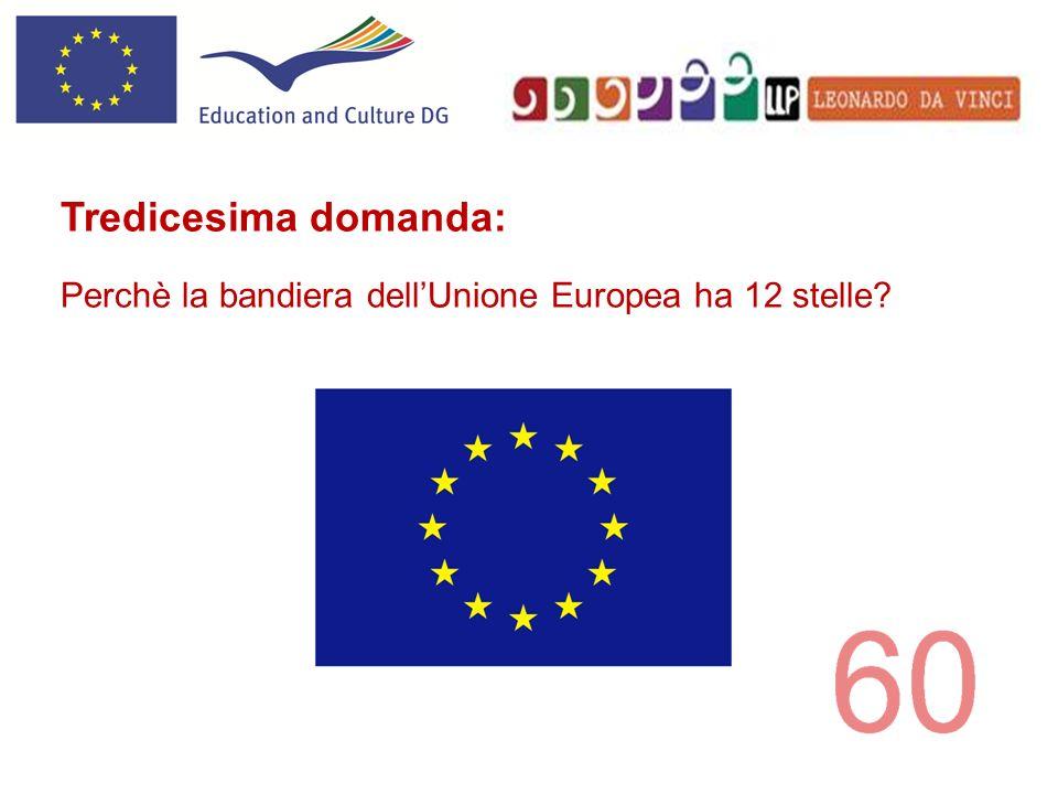 Tredicesima domanda: Perchè la bandiera dellUnione Europea ha 12 stelle?