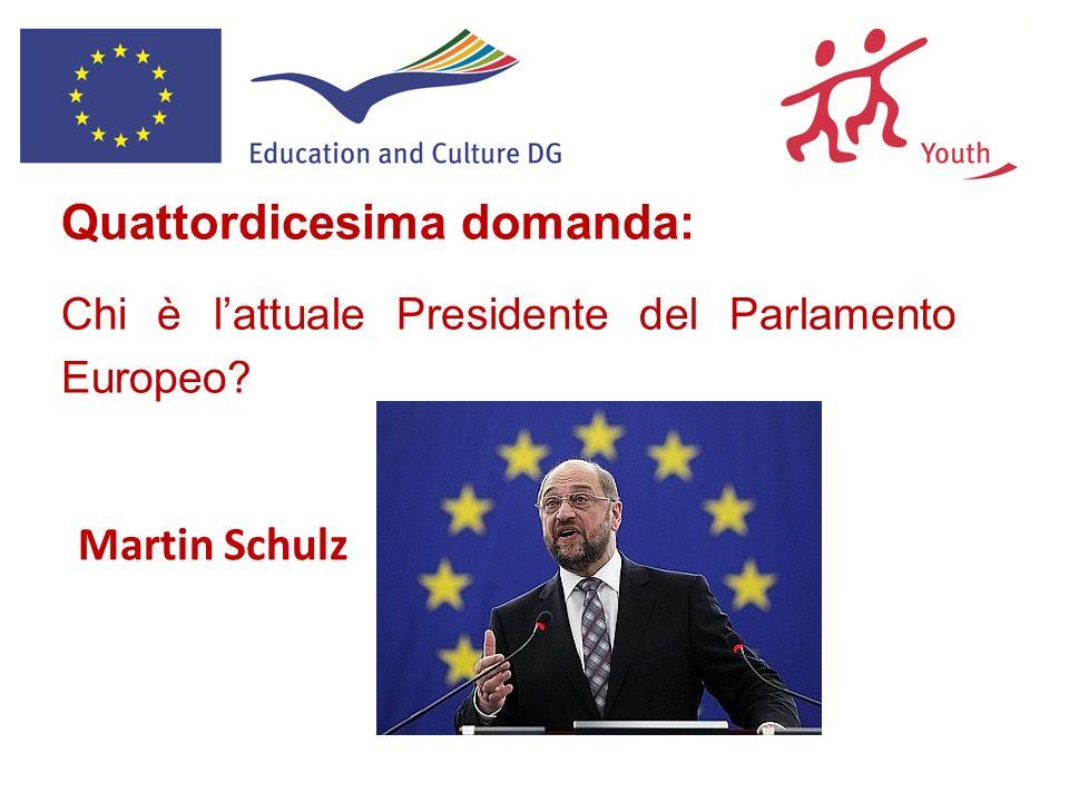 Quattordicesima domanda: Chi è lattuale Presidente del Parlamento Europeo? Martin Schulz