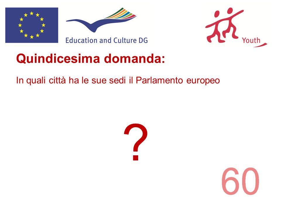 ? Quindicesima domanda: In quali città ha le sue sedi il Parlamento europeo