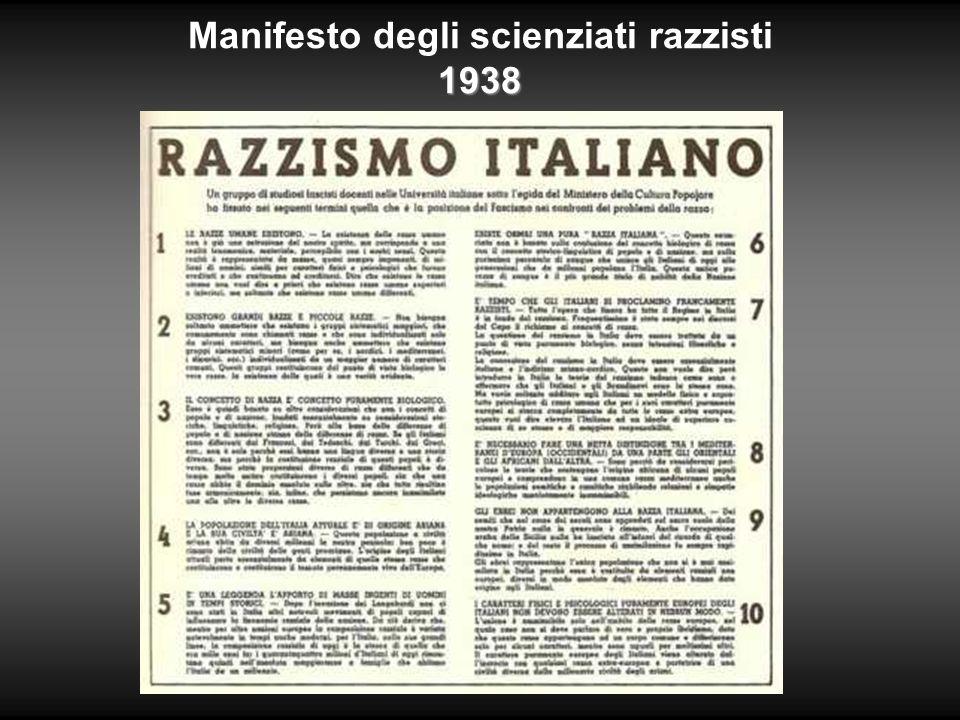 1938 Manifesto degli scienziati razzisti 1938