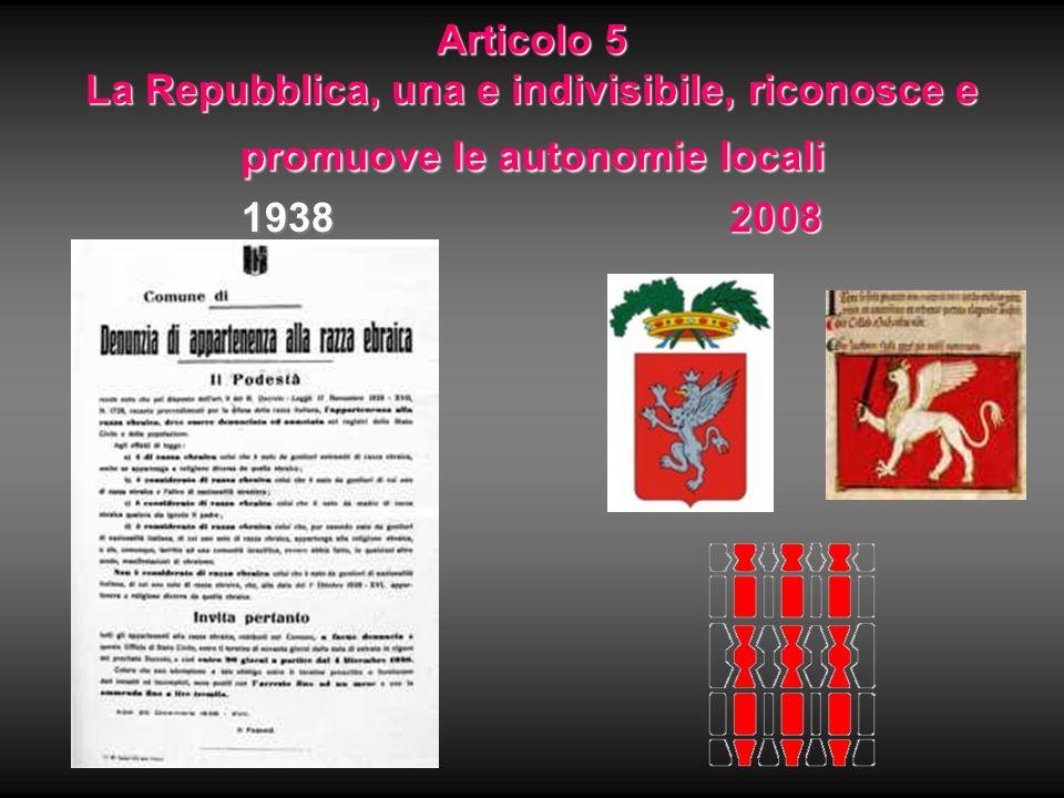 Articolo 5 La Repubblica, una e indivisibile, riconosce e promuove le autonomie locali 19382008