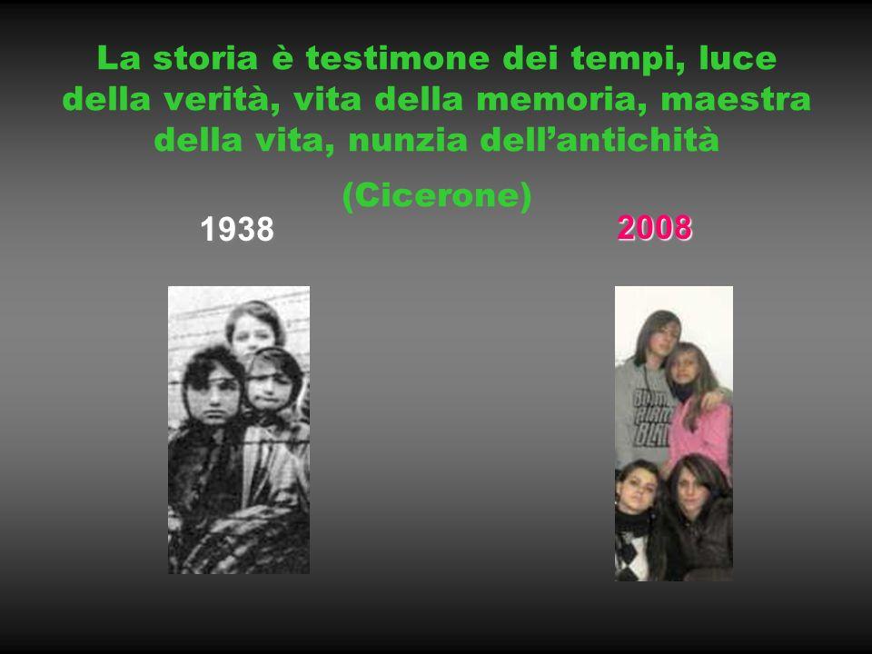 La storia è testimone dei tempi, luce della verità, vita della memoria, maestra della vita, nunzia dellantichità (Cicerone) 1938 2008 2008