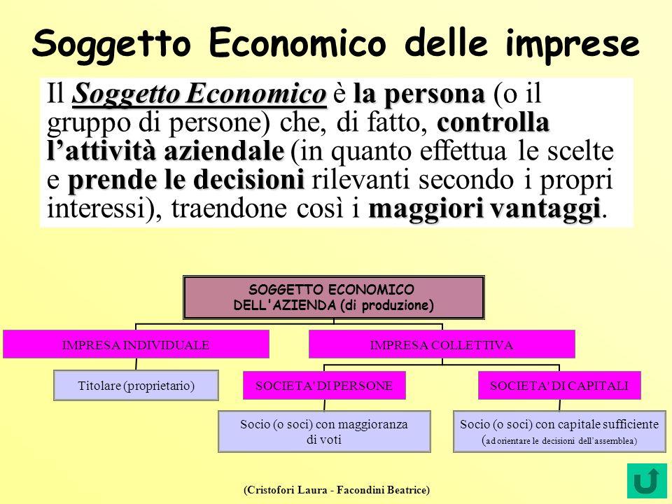 (Cristofori Laura - Facondini Beatrice) Soggetto Economico delle imprese Soggetto Economicola persona controlla lattività aziendale prende le decision