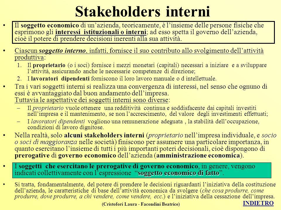 (Cristofori Laura - Facondini Beatrice) Stakeholders interni interessi istituzionali o interniIl soggetto economico di unazienda, teoricamente, è lins