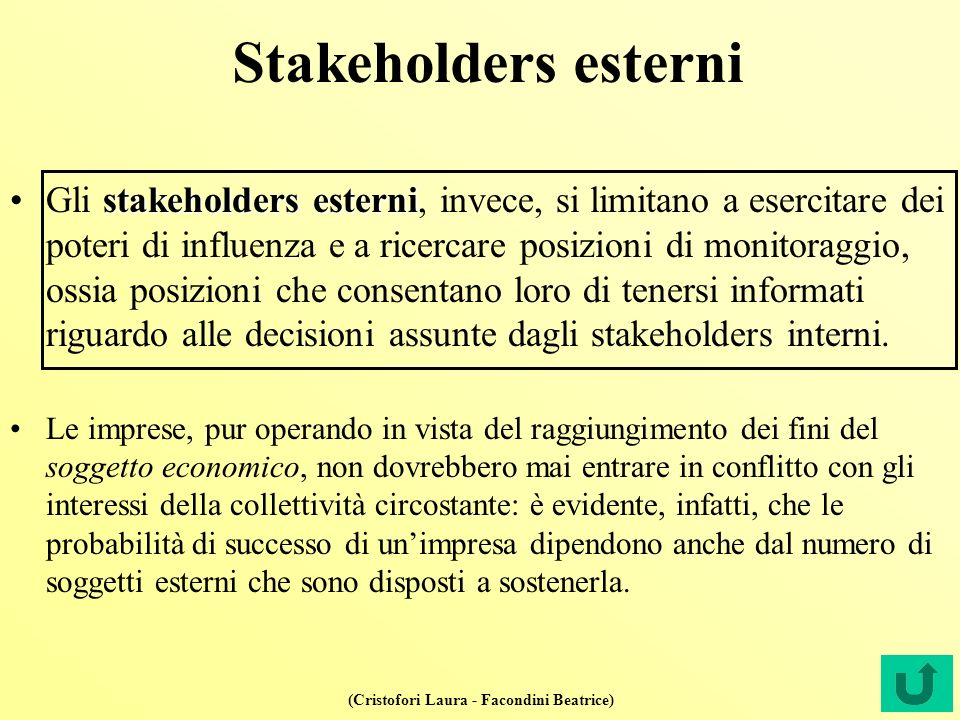 (Cristofori Laura - Facondini Beatrice) Stakeholders esterni stakeholders esterniGli stakeholders esterni, invece, si limitano a esercitare dei poteri