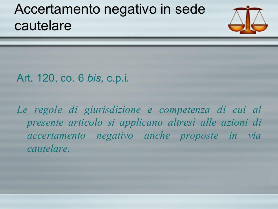Accertamento negativo in sede cautelare Art. 120, co. 6 bis, c.p.i. Le regole di giurisdizione e competenza di cui al presente articolo si applicano a