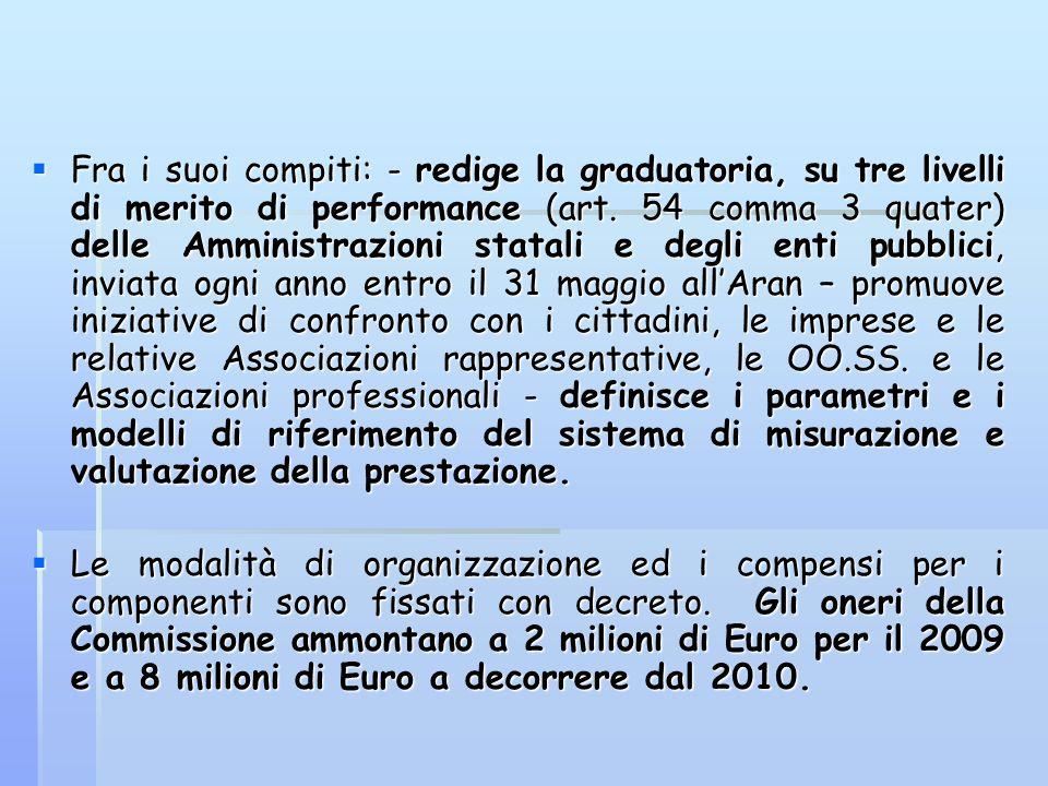 Fra i suoi compiti: - redige la graduatoria, su tre livelli di merito di performance (art. 54 comma 3 quater) delle Amministrazioni statali e degli en