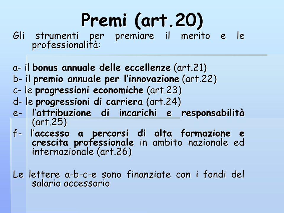 Premi (art.20) Gli strumenti per premiare il merito e le professionalità: a- il bonus annuale delle eccellenze (art.21) b- il premio annuale per linno