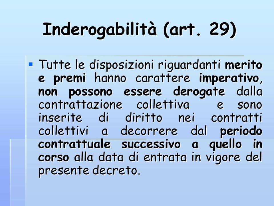 Inderogabilità (art. 29) Tutte le disposizioni riguardanti merito e premi hanno carattere imperativo, non possono essere derogate dalla contrattazione