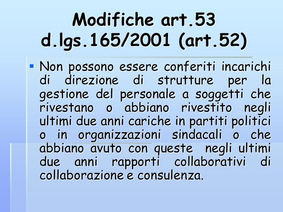Modifiche art.53 d.lgs.165/2001 (art.52) Non possono essere conferiti incarichi di direzione di strutture per la gestione del personale a soggetti che
