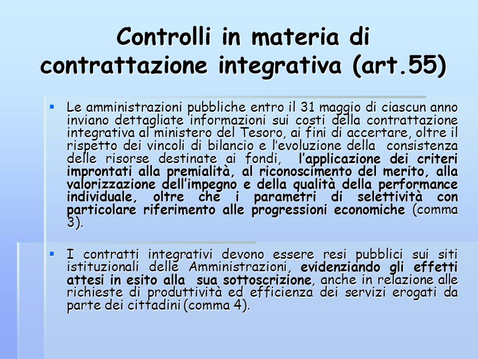 Controlli in materia di contrattazione integrativa (art.55) Le amministrazioni pubbliche entro il 31 maggio di ciascun anno inviano dettagliate inform