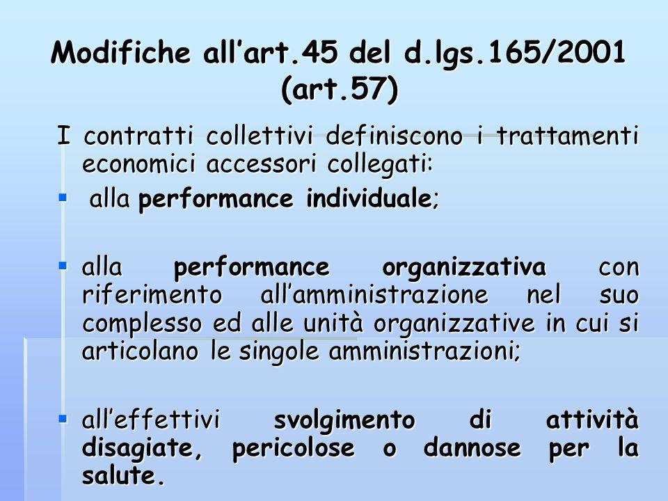 Modifiche allart.45 del d.lgs.165/2001 (art.57) I contratti collettivi definiscono i trattamenti economici accessori collegati: alla performance indiv