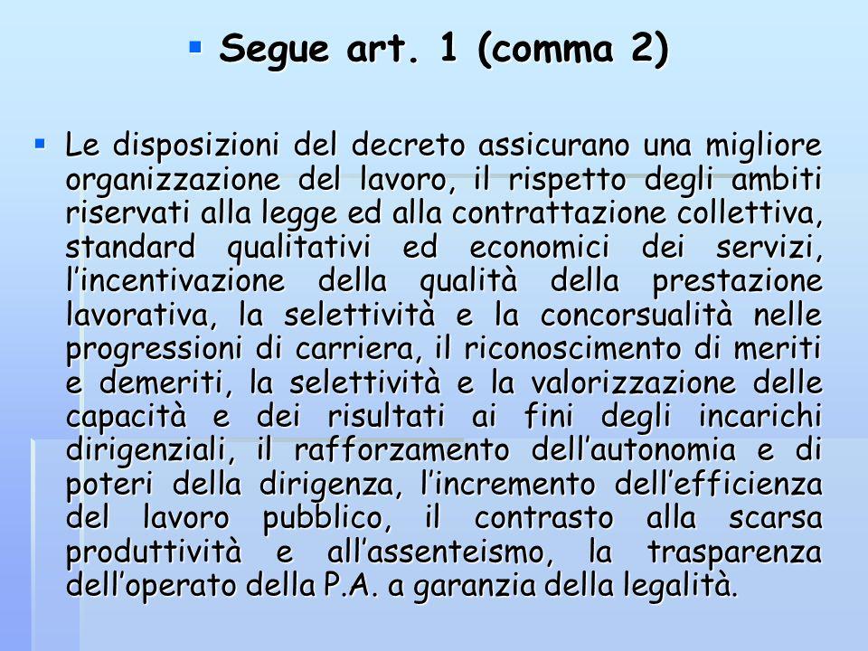 Segue art. 1 (comma 2) Segue art. 1 (comma 2) Le disposizioni del decreto assicurano una migliore organizzazione del lavoro, il rispetto degli ambiti