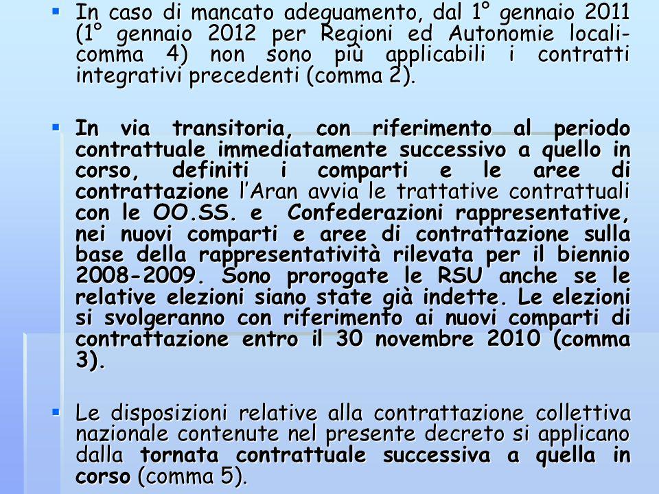 In caso di mancato adeguamento, dal 1° gennaio 2011 (1° gennaio 2012 per Regioni ed Autonomie locali- comma 4) non sono più applicabili i contratti in