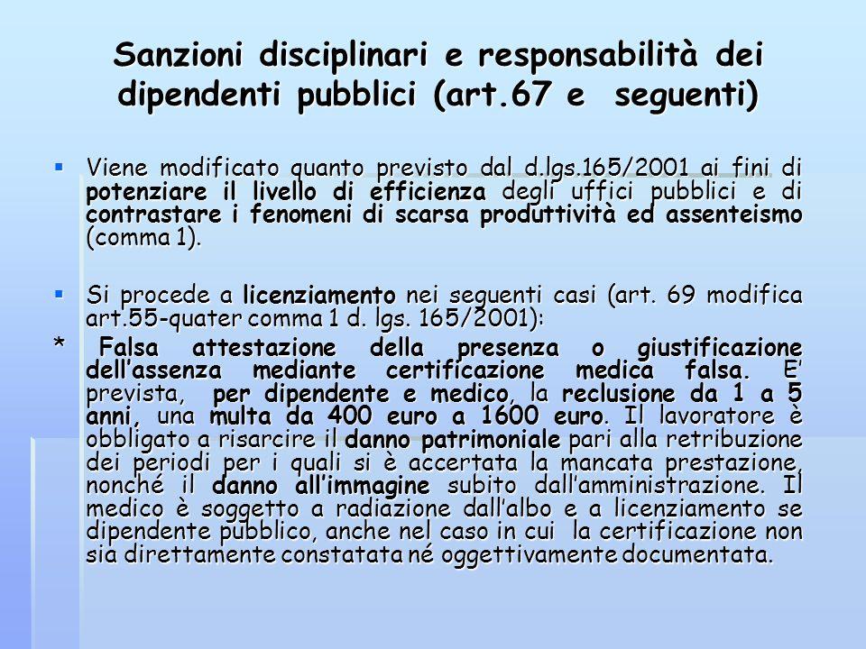 Sanzioni disciplinari e responsabilità dei dipendenti pubblici (art.67 e seguenti) Viene modificato quanto previsto dal d.lgs.165/2001 ai fini di pote