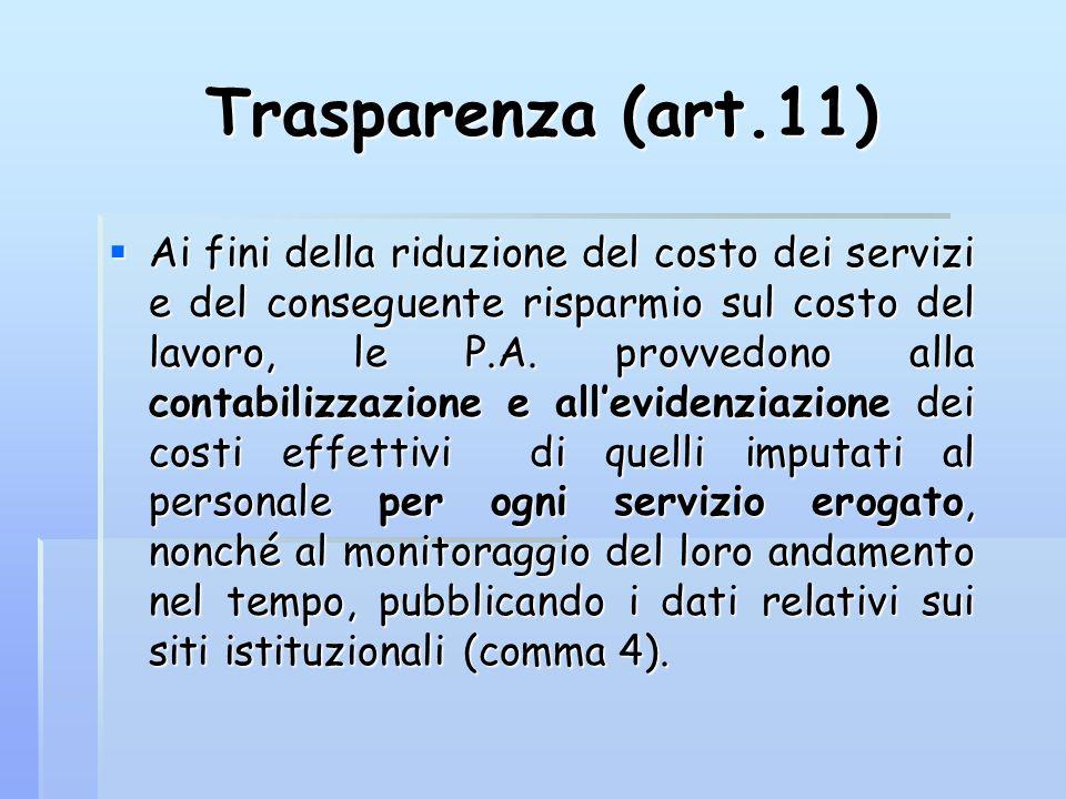 Trasparenza (art.11) Ai fini della riduzione del costo dei servizi e del conseguente risparmio sul costo del lavoro, le P.A. provvedono alla contabili