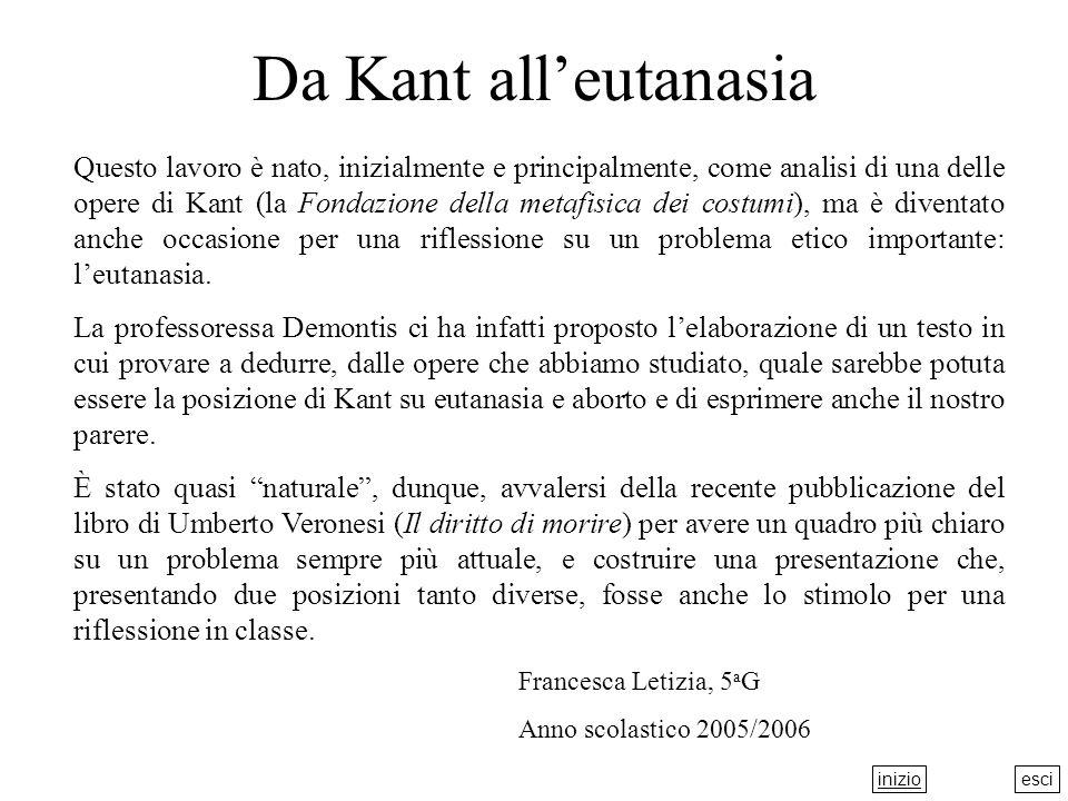 esci Da Kant alleutanasia Questo lavoro è nato, inizialmente e principalmente, come analisi di una delle opere di Kant (la Fondazione della metafisica dei costumi), ma è diventato anche occasione per una riflessione su un problema etico importante: leutanasia.
