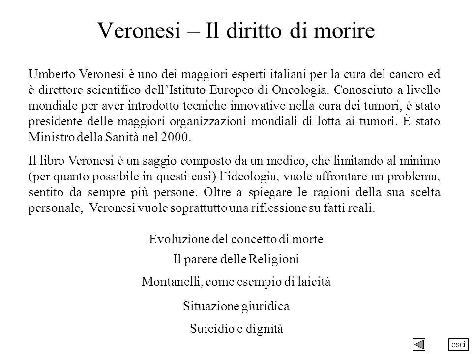 esci Veronesi – Il diritto di morire Umberto Veronesi è uno dei maggiori esperti italiani per la cura del cancro ed è direttore scientifico dellIstituto Europeo di Oncologia.