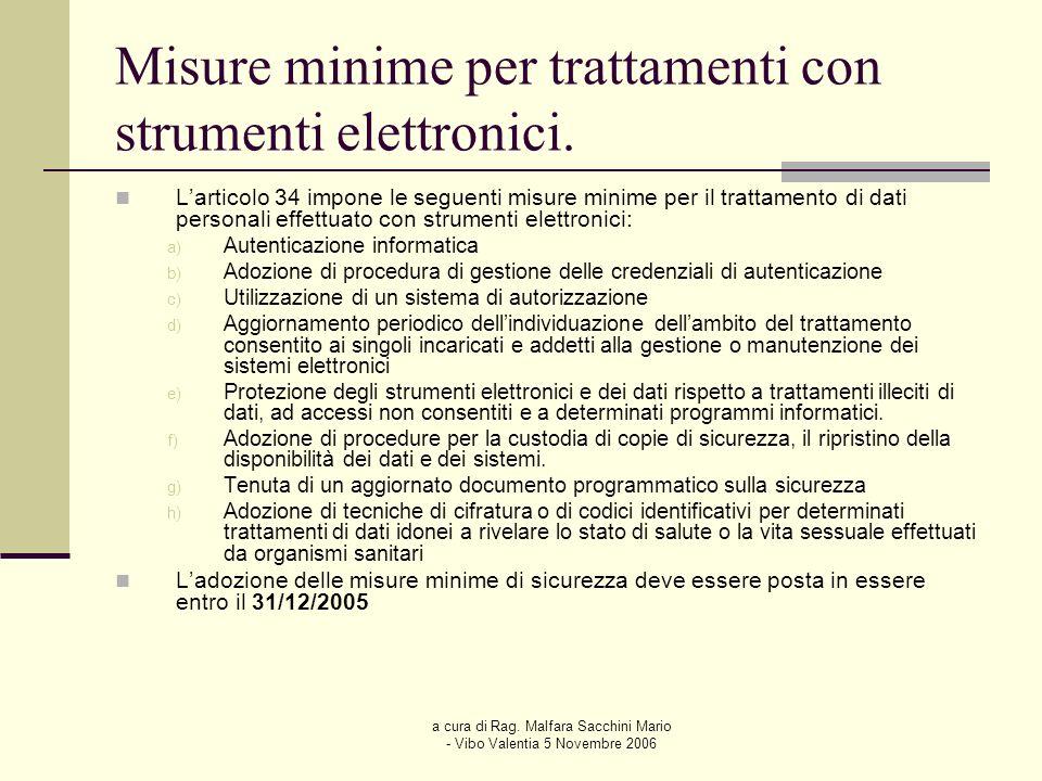 a cura di Rag. Malfara Sacchini Mario - Vibo Valentia 5 Novembre 2006 Misure minime per trattamenti con strumenti elettronici. Larticolo 34 impone le