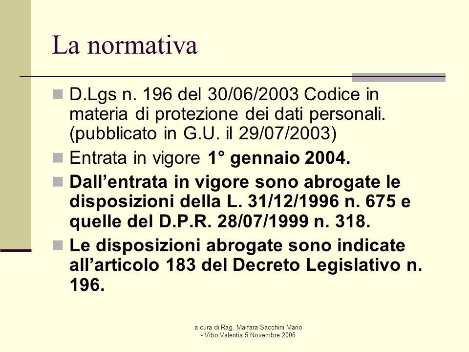 a cura di Rag. Malfara Sacchini Mario - Vibo Valentia 5 Novembre 2006 La normativa D.Lgs n. 196 del 30/06/2003 Codice in materia di protezione dei dat