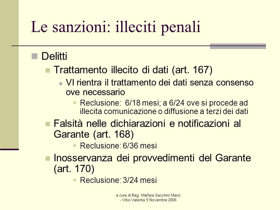 a cura di Rag. Malfara Sacchini Mario - Vibo Valentia 5 Novembre 2006 Le sanzioni: illeciti penali Delitti Trattamento illecito di dati (art. 167) VI
