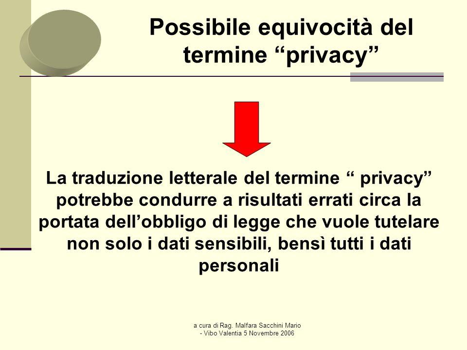 a cura di Rag. Malfara Sacchini Mario - Vibo Valentia 5 Novembre 2006 Possibile equivocità del termine privacy La traduzione letterale del termine pri
