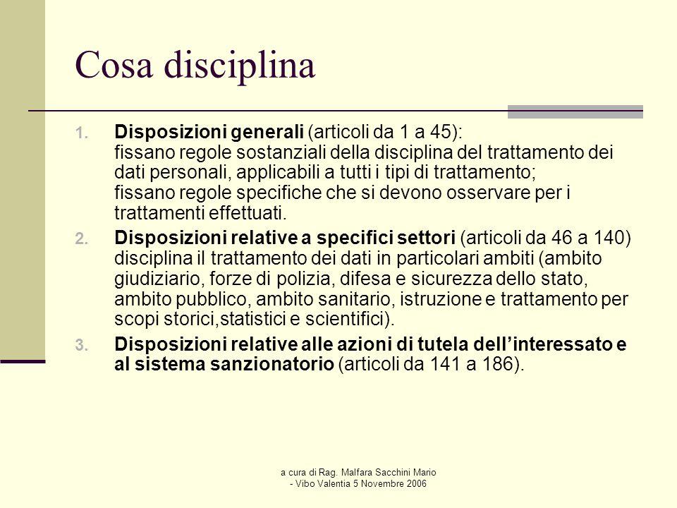 a cura di Rag. Malfara Sacchini Mario - Vibo Valentia 5 Novembre 2006 Cosa disciplina 1. Disposizioni generali (articoli da 1 a 45): fissano regole so