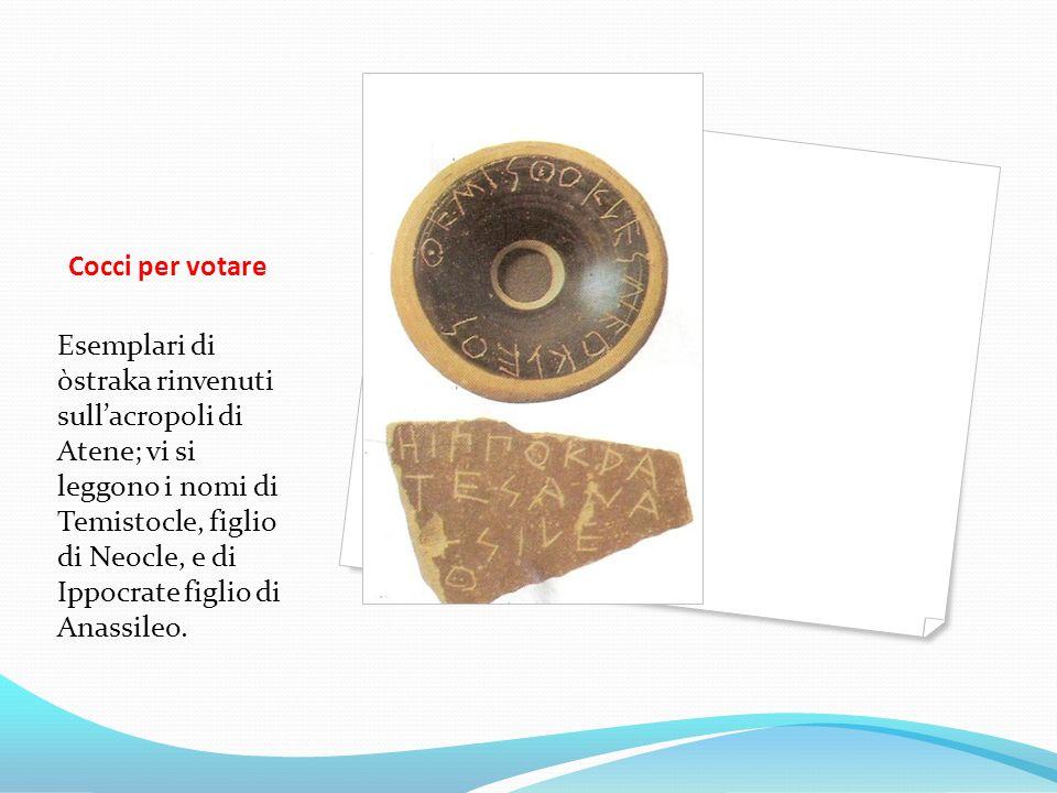 Cocci per votare Esemplari di òstraka rinvenuti sullacropoli di Atene; vi si leggono i nomi di Temistocle, figlio di Neocle, e di Ippocrate figlio di