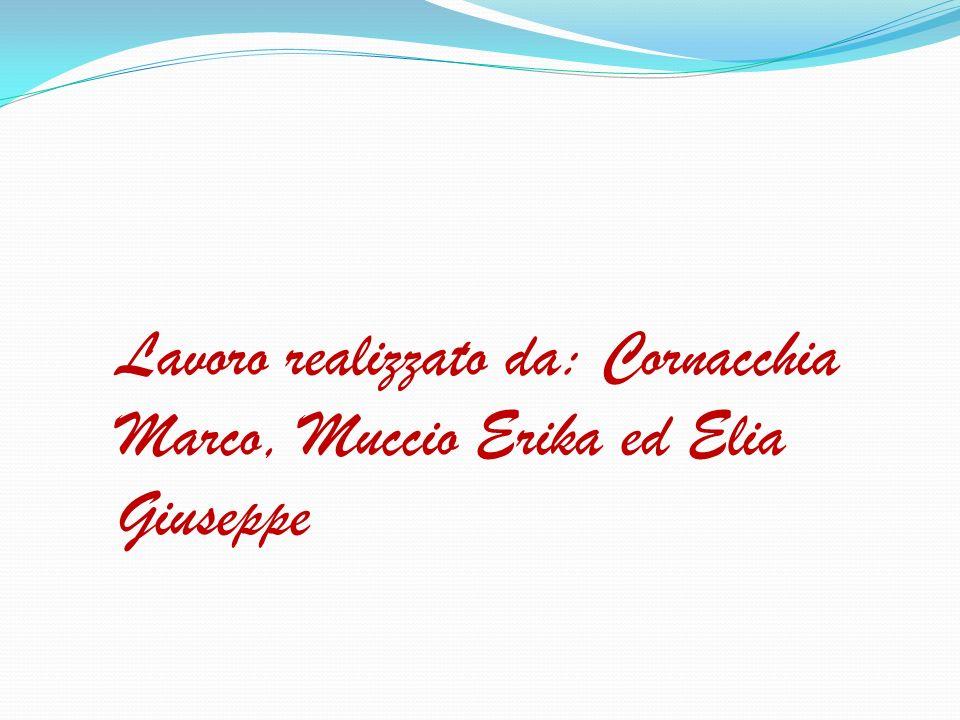 Lavoro realizzato da: Cornacchia Marco, Muccio Erika ed Elia Giuseppe