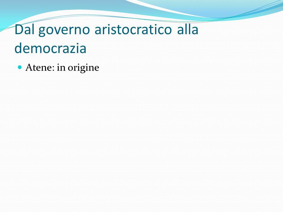 Dal governo aristocratico alla democrazia Atene: in origine