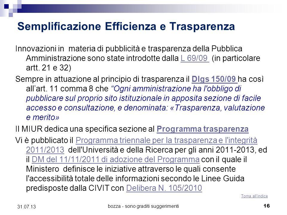 bozza - sono graditi suggerimenti Semplificazione Efficienza e Trasparenza Innovazioni in materia di pubblicità e trasparenza della Pubblica Amministr
