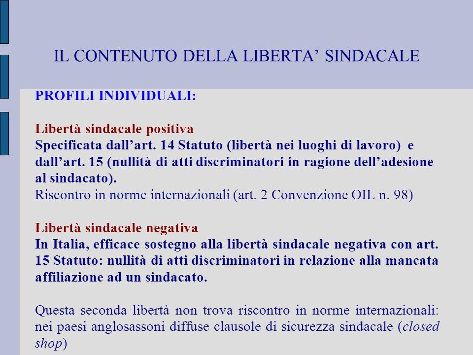 IL CONTENUTO DELLA LIBERTA SINDACALE PROFILI INDIVIDUALI: Libertà sindacale positiva Specificata dallart. 14 Statuto (libertà nei luoghi di lavoro) e