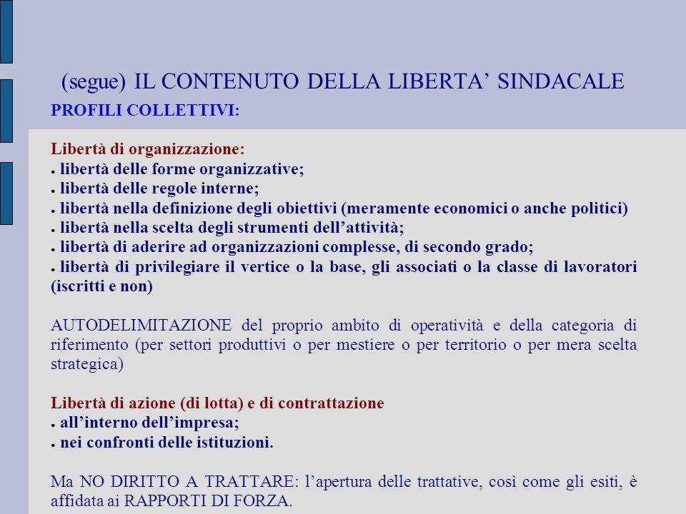 (segue) IL CONTENUTO DELLA LIBERTA SINDACALE PROFILI COLLETTIVI: Libertà di organizzazione: libertà delle forme organizzative; libertà delle regole in