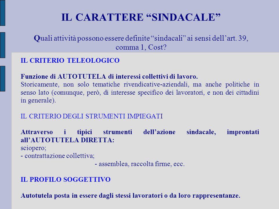 IL CARATTERE SINDACALE Q uali attività possono essere definite sindacali ai sensi dellart. 39, comma 1, Cost? IL CRITERIO TELEOLOGICO Funzione di AUTO