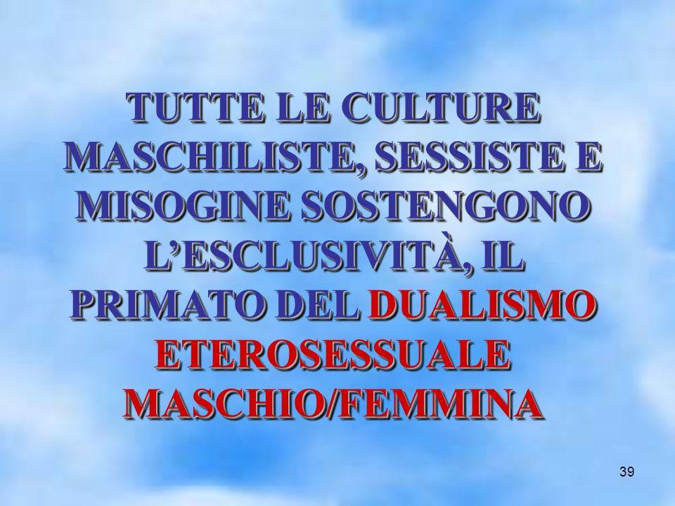 39 TUTTE LE CULTURE MASCHILISTE, SESSISTE E MISOGINE SOSTENGONO LESCLUSIVITÀ, IL PRIMATO DEL DUALISMO ETEROSESSUALE MASCHIO/FEMMINA