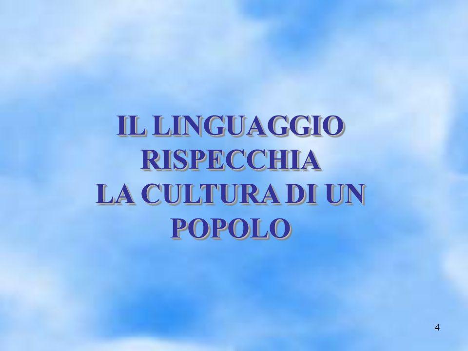 4 IL LINGUAGGIO RISPECCHIA LA CULTURA DI UN POPOLO IL LINGUAGGIO RISPECCHIA LA CULTURA DI UN POPOLO