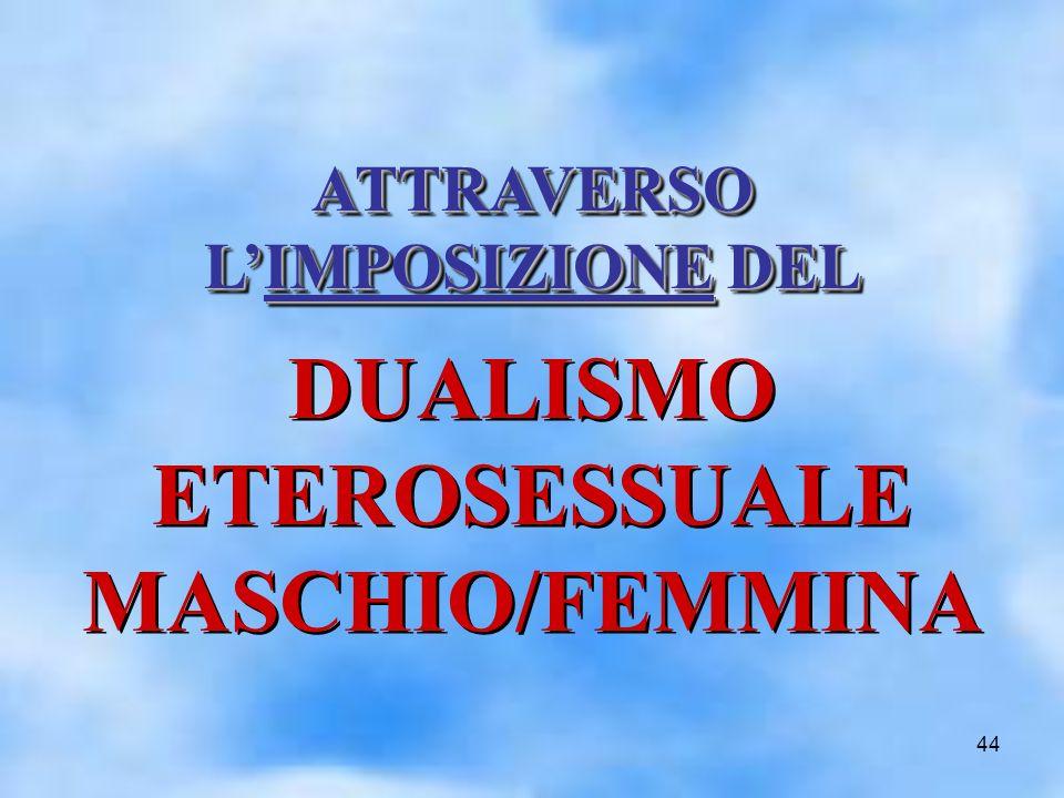 44 ATTRAVERSO LIMPOSIZIONE DEL ATTRAVERSO LIMPOSIZIONE DEL DUALISMO ETEROSESSUALE MASCHIO/FEMMINA