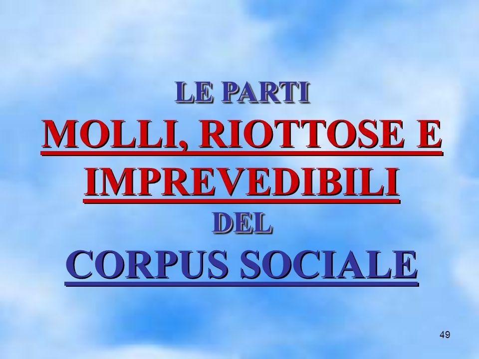 49 LE PARTI DEL LE PARTI MOLLI, RIOTTOSE E IMPREVEDIBILI DEL CORPUS SOCIALELE PARTI MOLLI, RIOTTOSE E IMPREVEDIBILI DEL CORPUS SOCIALE