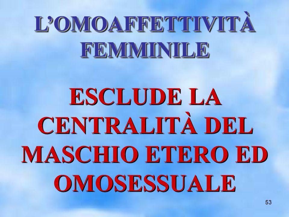 53 LOMOAFFETTIVITÀ FEMMINILE ESCLUDE LA CENTRALITÀ DEL MASCHIO ETERO ED OMOSESSUALE
