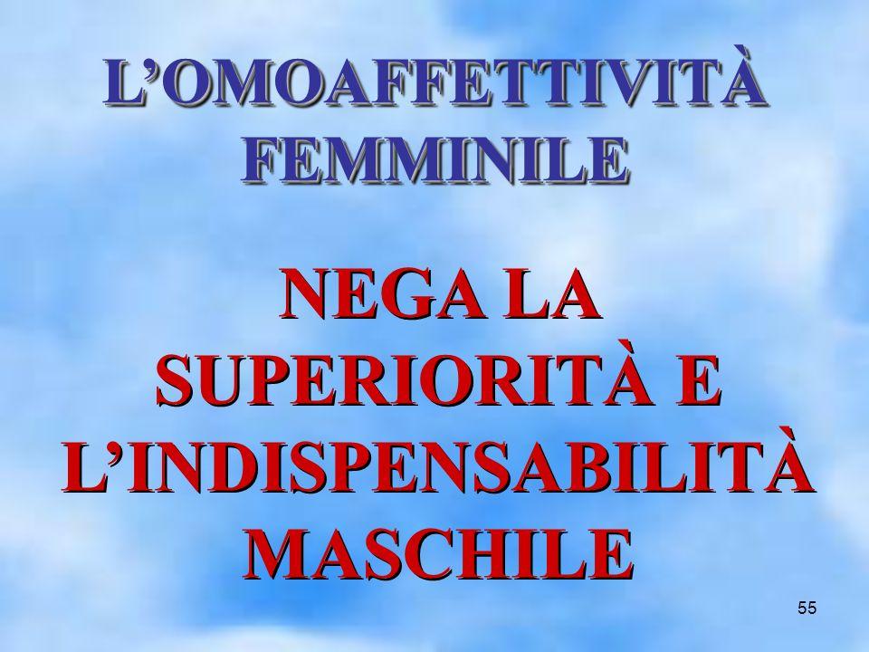 55 NEGA LA SUPERIORITÀ E LINDISPENSABILITÀ MASCHILE LOMOAFFETTIVITÀ FEMMINILE