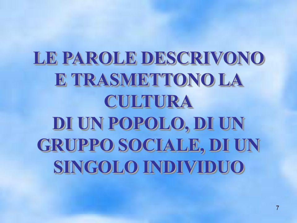 7 LE PAROLE DESCRIVONO E TRASMETTONO LA CULTURA DI UN POPOLO, DI UN GRUPPO SOCIALE, DI UN SINGOLO INDIVIDUO LE PAROLE DESCRIVONO E TRASMETTONO LA CULTURA DI UN POPOLO, DI UN GRUPPO SOCIALE, DI UN SINGOLO INDIVIDUO