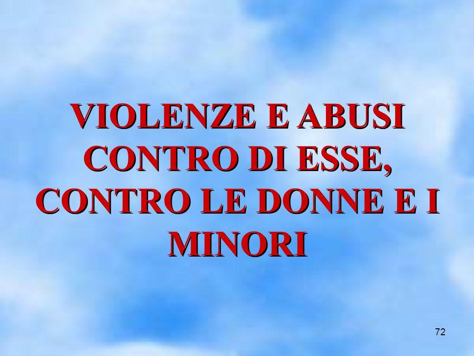 72 VIOLENZE E ABUSI CONTRO DI ESSE, CONTRO LE DONNE E I MINORI VIOLENZE E ABUSI CONTRO DI ESSE, CONTRO LE DONNE E I MINORI