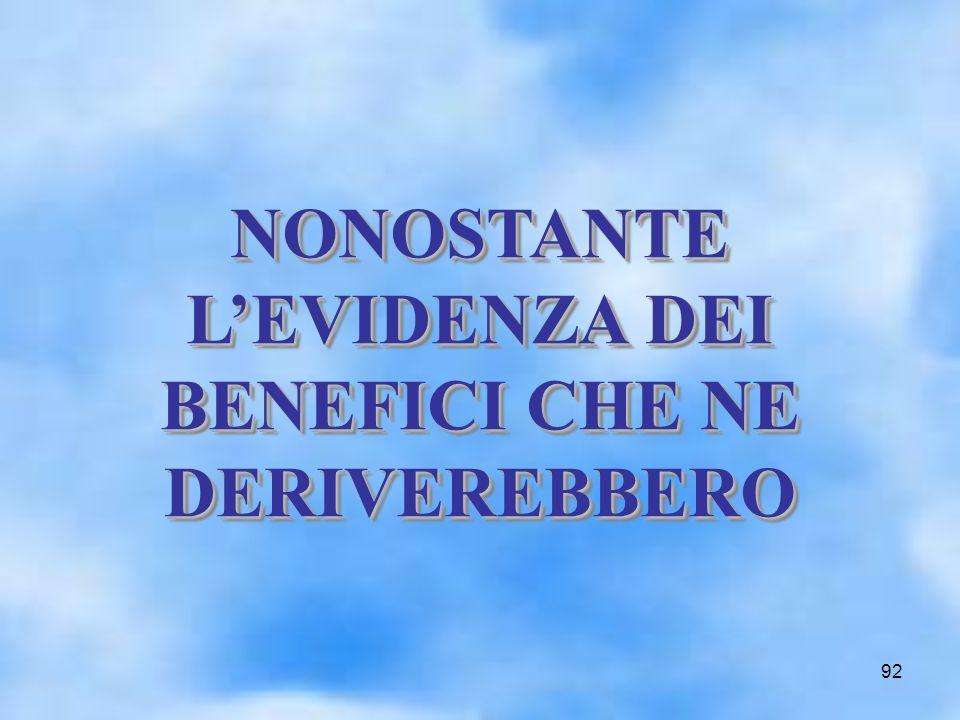 92 NONOSTANTE LEVIDENZA DEI BENEFICI CHE NE DERIVEREBBERO NONOSTANTE LEVIDENZA DEI BENEFICI CHE NE DERIVEREBBERO