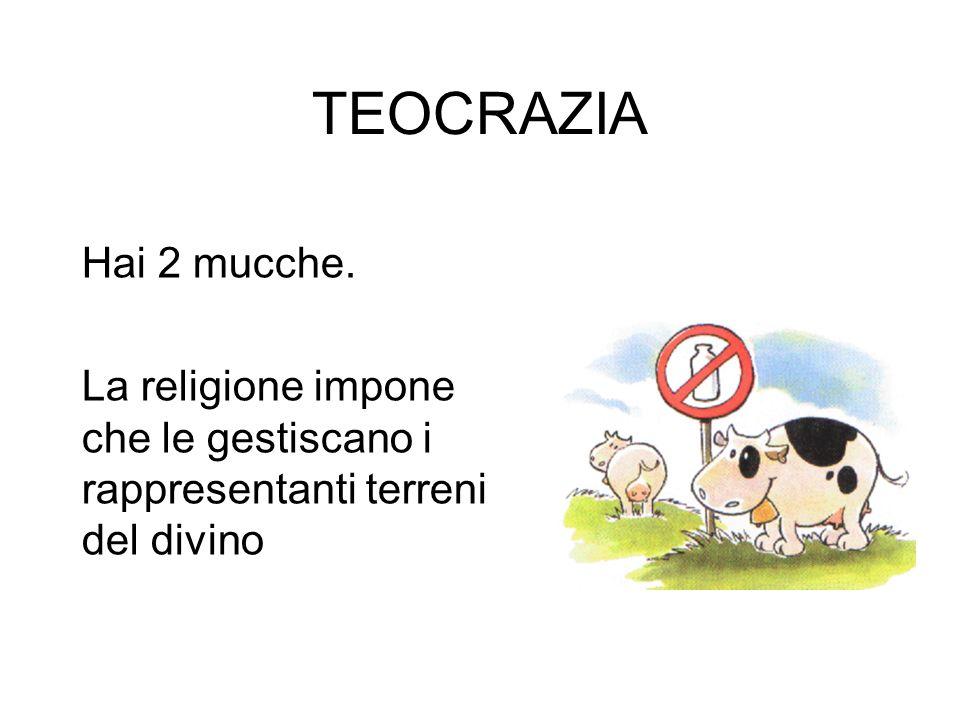 TEOCRAZIA Hai 2 mucche. La religione impone che le gestiscano i rappresentanti terreni del divino